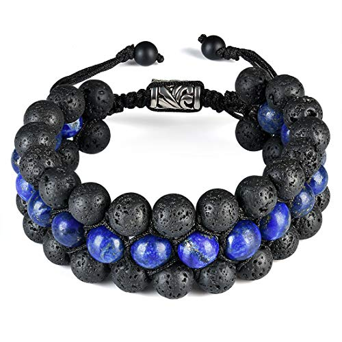 CAT EYE JEWELS 8mm Natural Healing Stones Beads Bracelet Triple Layered Adjustable Macrame H002