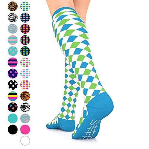 Go2Socks GO2 Compression Socks for Women Men Nurses Runners 15-20 mmHg (Medium) - Medical Stocking Maternity Travel - Best Performance Recovery Circulation Stamina (HarlWhiteGreenBlue,L)
