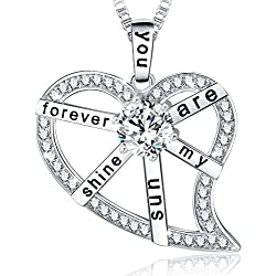 """Ado Glo """"You Are My Sunshine Forever"""" Love Heart Fashion Jewelry Necklace - Birthday Gifts for Women, 18"""""""