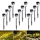 Solar Lights Outdoor, 12Pack Solar Garden Lights Stainless Steel, Waterproof LED Solar Powered Pathway Lights Outdoor Landscape Lighting for Lawn, Patio, Yard, Driveway and Walkway - Warm White