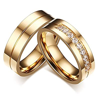 Asma Jewel House 18K Gold Plated Aaa Cubic Zircon Couple Ring For