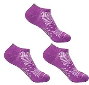 Elastic Hiking Socks Women&Girls Coolmax Sports Socks 3Pairs,Purple,One Size