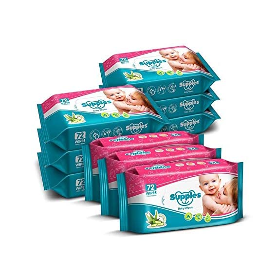Supples Baby Wet Wipes with Aloe Vera and Vitamin E - 72 Wipes/Pack (Pack of 9)