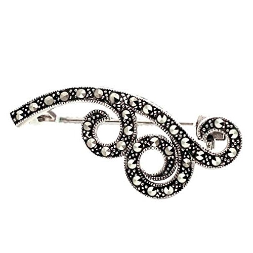 Sterling Silver Marcasite Wavy Clouds (Sterling Silver Marcasite Pin Brooch)