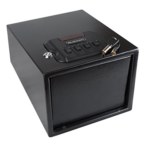 Gun Safe with Digital Lock and Manual Override Keys- 1.2 mm Thick Walls, 1.5 mm Thick Spring Loaded Door- Secure Valuables and Pistols by Stalwart by Stalwart