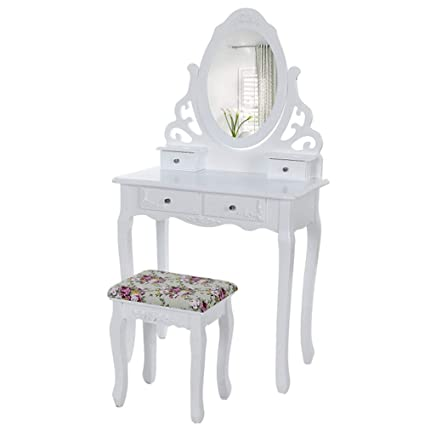 Amazoncom Gw White Wooden Dressing Table Oval Mirror Stool Bedroom