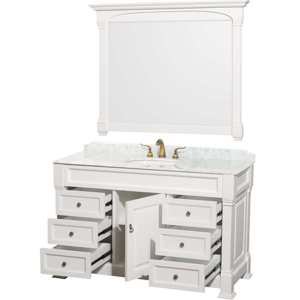 Wyndham Collection Andover 55 Inch Single Bathroom Vanity In Antique Black  With White Carrera Marble Top With White Undermount Sink     Amazon.com