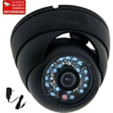 """VideoSecu Dome Security Camera 600TVL Outdoor IR Infrared Built-in 1/3"""" Sony Color CCD Wide Angle High Resolution Day Night for CCTV DVR Surveillance System with Bonus Power Supply 1I6"""