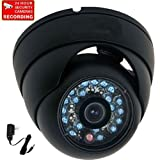 "VideoSecu Dome Security Camera 600TVL Outdoor IR Infrared Built-in 1/3"" Sony Color CCD Wide Angle High Resolution Day Night for CCTV DVR Surveillance System with Bonus Power Supply 1I6"