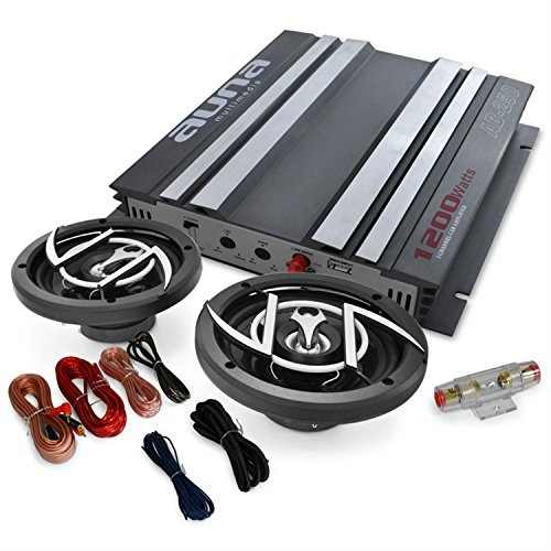 Car Hifi Set Platin Line 200 2-Kanal Auo Endstufe 1200W + 2x 16cm Einbau-Lautsprecher 600W max. (inkl. Kabel-Set, Verstärker brückbar) schwarz-silber