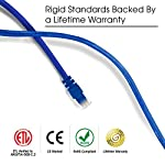GearIt 50-Pack, Cat5e Ethernet Patch Cable 1.5 Feet - Snagless RJ45 Computer LAN Network Cord, Blue - Compatible with 48 Port Switch POE Rackmount 48port Gigabit 7 High-precision, CAT5e, ANSI/TIA-568-C.2 Compliant, ETL Verified, Ethernet LAN Patch Cable, pre-terminated with Cat 5e RJ45 connectors and available in a wide variety of colors for proper color coding of network connections Premium quality category 5 enhanced cable, long-lasting materials, durable design, and a lifetime warranty for the price of a generic cable. ETL verified to ensure maximum reliability and compatibility UTP 24AWG stranded conductors for flexibility and minimum crosstalk, 50 micron gold-plated contacts for high-speed data transfer and corrosion resistance, as well as molded, snag-less strain relief boots for long lasting, durable connections
