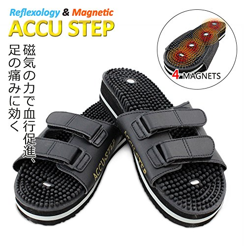 U.S. JACLEAN Foot Reflexology Sandals for Mens Womens Therapeutic Acupressure Magnetic Massaging Sandals Slippers Accu Step (XL(M10.5-12)) Black
