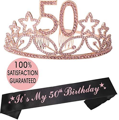50th Birthday Tiara and Sash, Happy 50th Birthday Party Supplies, 50 & Fabulous Black Glitter Satin Sash and Crystal Tiara Birthday Crown for 50th Birthday Party Supplies and Decorations]()