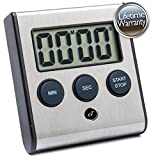 Elegant Digital Kitchen Timer, 3 Stainless Steel Models, Model eT-23, SUPER Strong Magnetic Back, Loud Alarm, Large Display, Auto Memory, Auto Shut-Off
