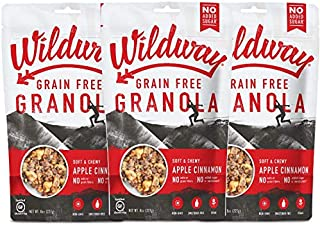 product image for Wildway Keto, Vegan Granola | Apple Cinnamon Granola | Certified Gluten Free Granola Breakfast Cereal, Low Carb Snack | Paleo, Grain Free, Non GMO, No Added Sugar | 8oz, 3 pack