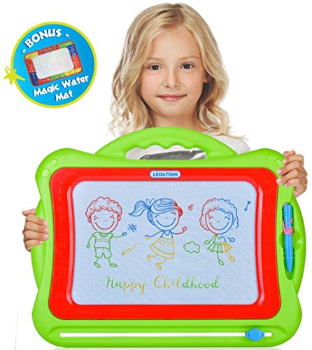 Magnetic Drawing Board for Toddlers, Magna Doodle Toy | 16X13 Large Nontoxic Erasable Magnadoodle | Big Colorful Pad for Writing and Drawing + Small Magic Aqua Mat | Best Gift for Kids, Girls & Boys