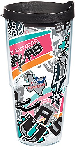 Black Nba Spur - Tervis 1265878 NBA San Antonio Spurs All Over Tumbler with Wrap and Black Lid 24oz, Clear