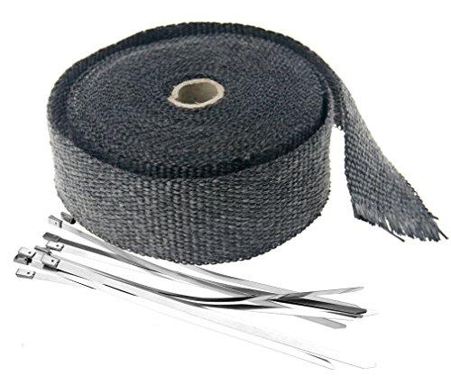 10m Hitzeschutzband Auspuffband Hitzeschutz schwarz mit Metall Kabelbinder