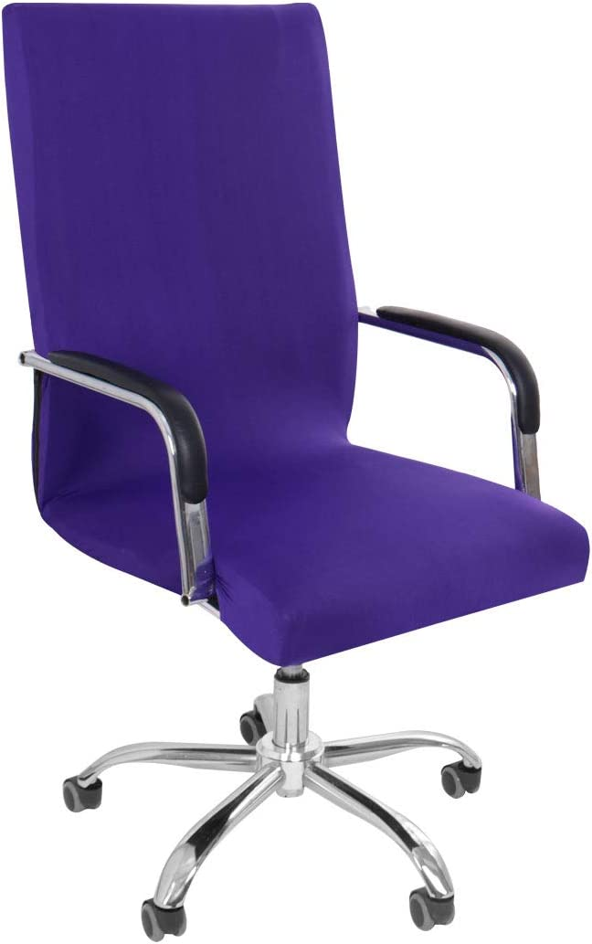 PiccoCasa Stretch Office Chair Cover Computer Chair Slipcovers with Zippers and Bottom Strips for Rotating Boss Chair Simplism Style Washable High Back (Chair Not Included) Purple Large