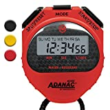 MARATHON Adanac 4000 Digital Stopwatch Timer with Extra Large Display and Buttons, Water Resistant, 2-Year Warranty. Color- Red