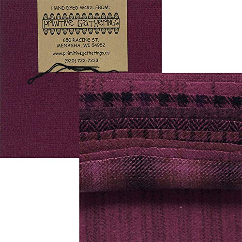 Fabric Glen Plaid (Primitive Gatherings Hand Dyed Wool Red Grape Charm Pack 10 5-inch Squares Moda Fabrics PRI 6017)