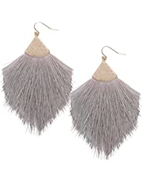 Humble Chic Fringe Tassel Statement Dangle Earrings - Lightweight Long Strand Drop Earrings