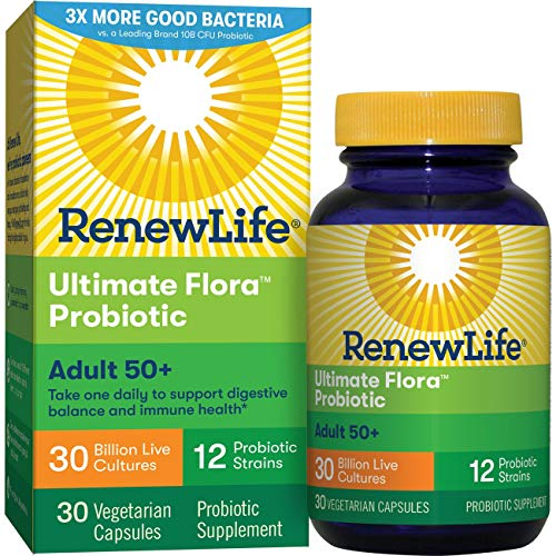 (Renew Life Adult 50+ Probiotic - Ultimate Flora Probiotic, Shelf Stable Probiotic Supplement - 30 Billion - 30 Vegetables Capsules (Packaging May Vary) )
