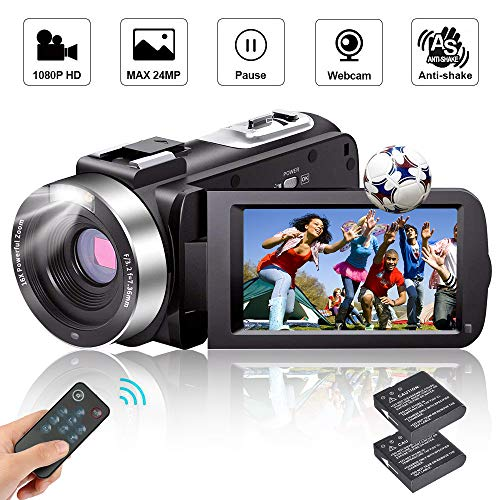 Camcorder Video Camera Full HD Camcorders 1080P 24.0MP Vlogging Camera with 2 Batteries and Pause Function with Remote Controller...