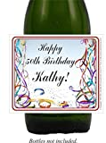 50th Birthday Wine Labels, Beer, Streamers Self Adhesive (set of 24)(L572)