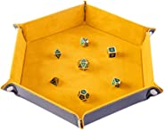 GAMELAND Dice Folding Hexagon Tray Velvet Rolling for DND Dice Games and Candy Holder Storage