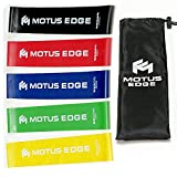 Motus Edge Mini Exercise Resistance Bands – Set of 5, Variable Strength – Instructional Guide & Handy Carry Bag