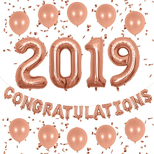 EASUTE 40inch Rose Gold 2019 Balloons 16inch Congratulations Banner Latex Balloons Rose Gold Confetti for New Year Party Grad Event Anniversary Party Decorations (Rose Gold)