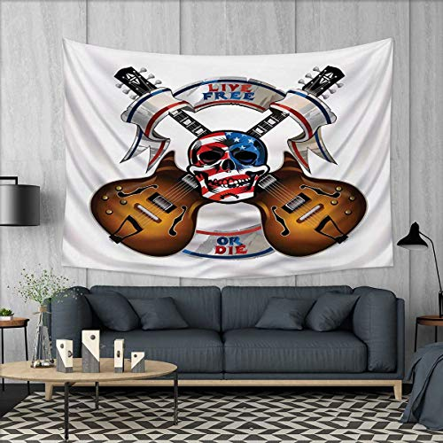 Anhuthree Guitar Tapestry Wall Hanging 3D Printing Crossed E