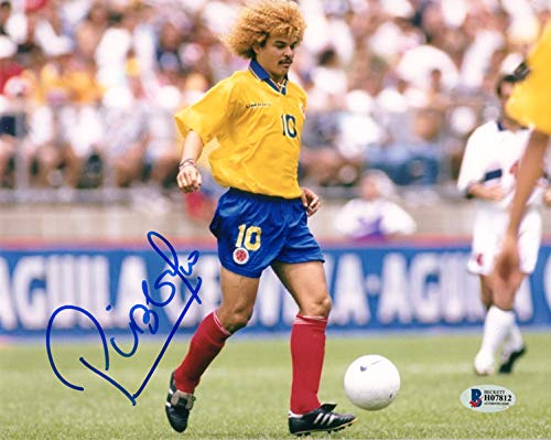 CARLOS VALDERRAMA SIGNED 8x10 PHOTO COLOMBIA WORLD CUP SOCCER LEGEND BECKETT - Soccer Photo Cup 8x10 World