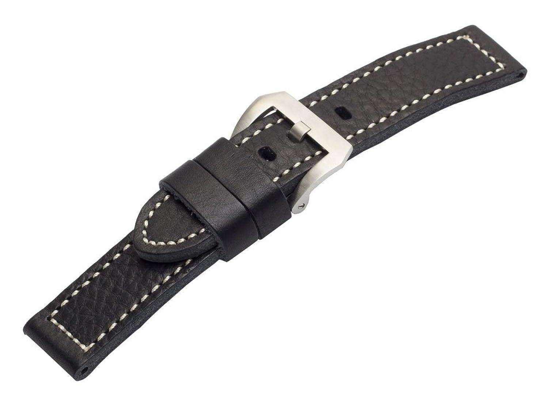 24 mm BlackヴィンテージPaneraiスタイルカーフスキンレザー腕時計バンド  B01N0D9B6E