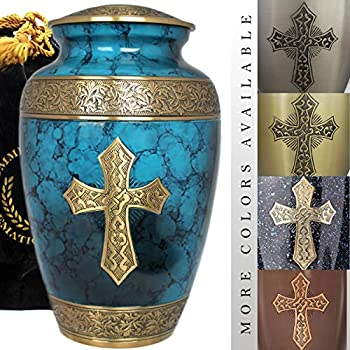 Image of Love of Christ - Burial Or Funeral Adult Cremation Urn for Human Ashes - 100% Brass - Extra Large, Large and Small Keepsake (Large, Mediterranean Blue) Home and Kitchen