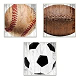The Kids Room by Stupell Baseball Football Soccer Wood Planks 3pc Wall Plaque Art Set, 12 x 0.5 x 12, Proudly Made in USA
