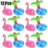 Floating Drink Holders, Outgeek 12 Pcs Inflatable Palm Tree Drink Holders Flamingos Flamingo Drink Holder Cup Holder for Pool Party Water Fun