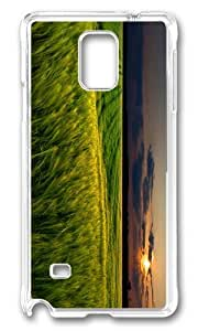 MOKSHOP Adorable green wheat field sunset Hard Case Protective Shell Cell Phone Cover For Samsung Galaxy Note 4 - PC Transparent