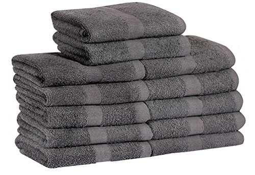 Gold textiles Cotton Bleach Proof Salon Hand Towels (24-Pack,Grey,16x27 inches) Bleach Safe Gym Hand Towel (24, Grey) (Salon Color Safe)