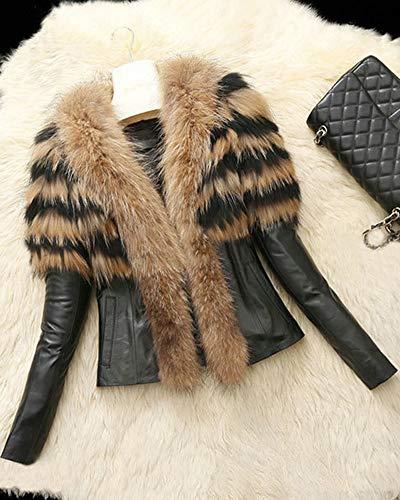 Cuir Fourrure Fausse Parka Hiver en Outwear en Jaune PU Femme Runyue Veste pour Manteau Chaude w4Cq1Ev