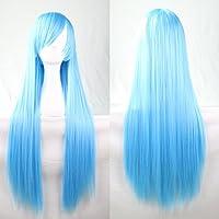 New 80cm Straight Sleek Long Full Hair Wigs w Side Bangs Cosplay Costume Womens, Aqua