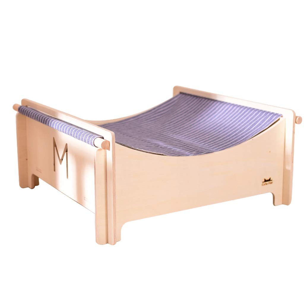 D Wooden Pet Bed Cat Hammock Cat Wooden Bed, Four Seasons Available Cat Jumping Bed, Non-slip, Four colors Optional SMBYLL (color   D)