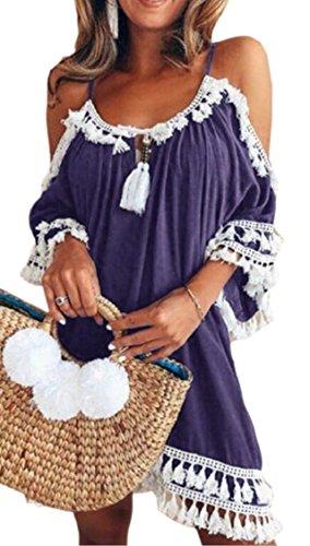 Jaycargogo Des Femmes De Gland Manchon Cloche D'épaule Froide Mini-robe Occasionnels Pourpre