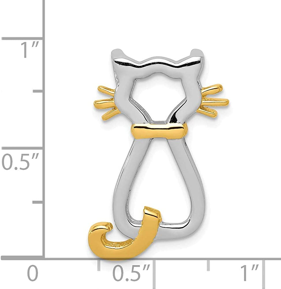 Solid 925 Sterling Silver Gold-plating Cat Chain Necklace Slide Pendant