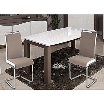 DYLAN Lot de 2 chaises de salle a manger - Simili taupe et ...