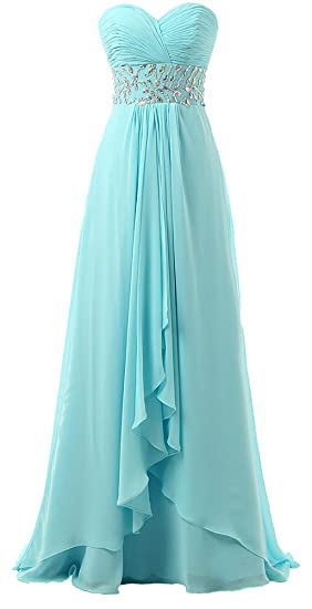 Baijinbai Womens Long Chiffon Sweetheart Beaded Formal Evening Dresses Prom Gown Blue