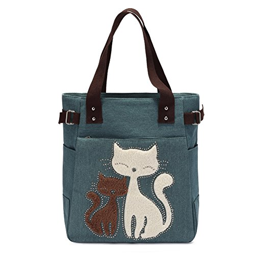 KAUKKO Casual Cute Two Cats Embroidered Canvas Tote Bag Shoulder Handbag for Women Army Green