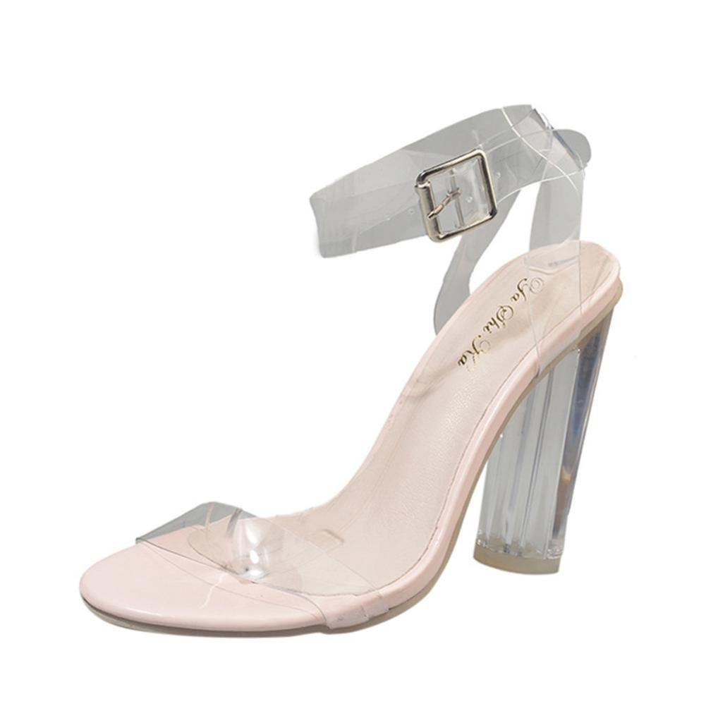 Sandalias mujer, ❤️ Manadlian Sandalias de mujer Cerrojo transparente Taló n grueso Moda Zapatos de tacó n alto (CN:39, Claro) Manadlian_Sandalias mujer