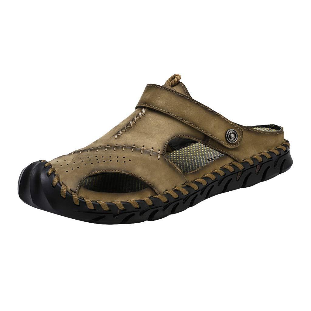 〓COOlCCI〓Men's Sports Sandals, Men Sandals Summer Beach Shoes,Men Hollow Sandals Slip-on Toe Roman Casual Shoes Khaki